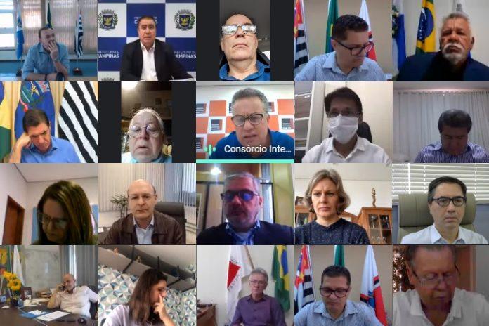 Realizado por meio de videoconferência, encontro foi acompanhado pelo presidente da entidade regional e prefeito de Rio Grande da Serra, Gabriel Maranhão. Foto: Divulgação/Consórcio ABC