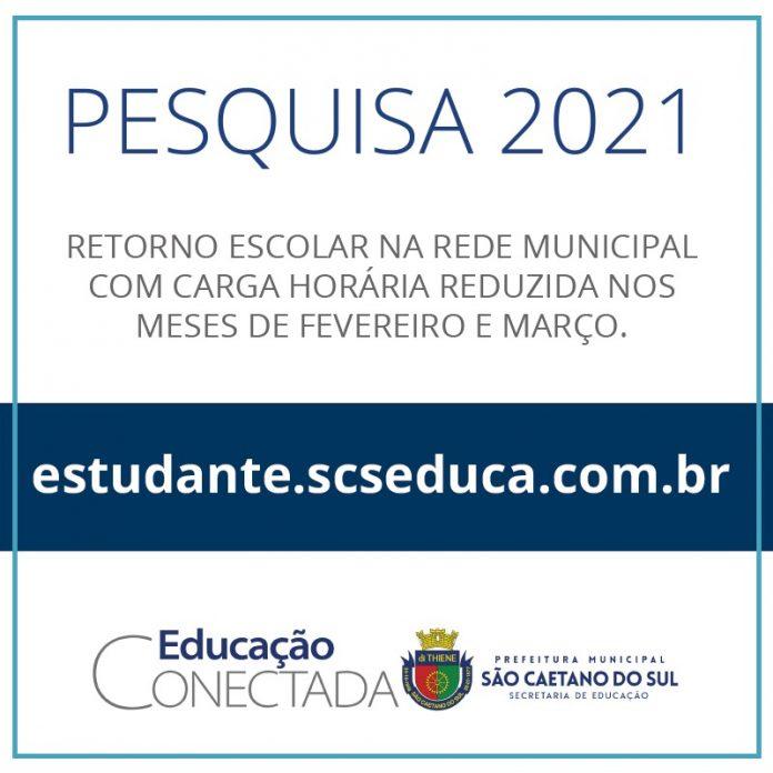A pesquisa sobre retomada das aulas vai até 29/01. Foto: Divulgação/PMSCS