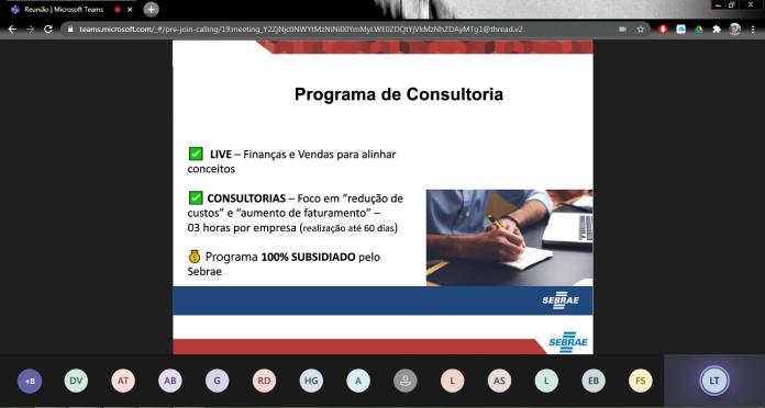 Atividade foi realizada de forma virtual, em parceria com o Sebrae-SP. Foto: Divulgação/PSA
