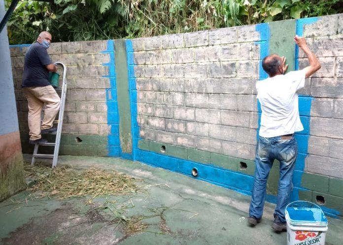 Pintura na E.M. Cícera Benevides dos Santos, no Barro Branco. Foto: Divulgação/PMRP