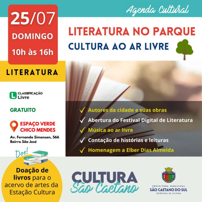 Cultura Ao Ar Livre será no Espaço Verde Chico Mendes. Arte: Divulgação/PMSCS