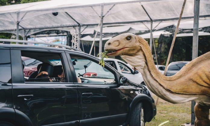 Diversas réplicas animadas de dinossauros em tamanhos reais irão correr ao redor dos carros em performances e movimentos impressionantes. Foto: Camila Cara